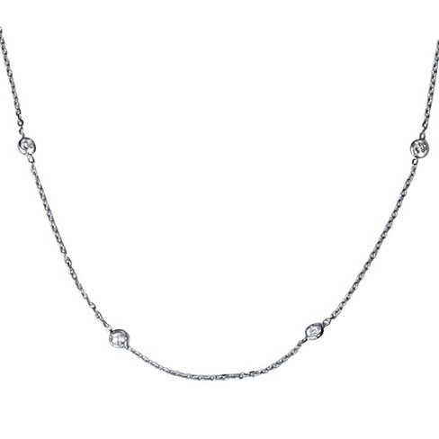 "Pompeii3 1ct Diamonds Bezel Station 18"" 14K White Gold Womens Necklace - image 1 of 4"