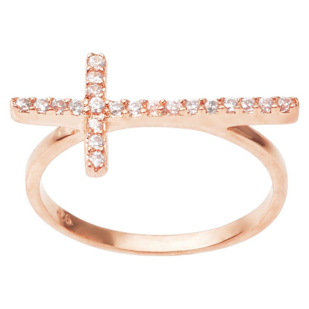 2/5 CT. T.W. Round Cut CZ Pave Set Cross Ring in Sterling Silver - RoseGold (5), Rose Gold