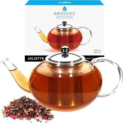 GROSCHE JOLIETTE Hand Blown Glass Teapot with Stainless Steel Infuser, 42 fl oz. Capacity