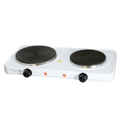 MegaChef Portable Dual Electric Cooktop - White