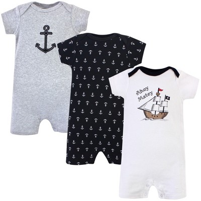 Hudson Baby Infant Boy Cotton Rompers 3pk, Pirate Ship