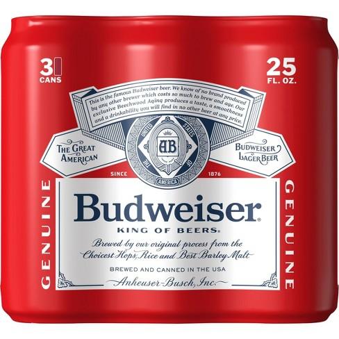 Budweiser Lager Beer - 3pk/25 fl oz Cans - image 1 of 3