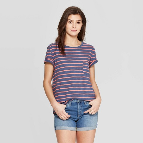 Women's Striped Short Sleeve Crewneck Relaxed Fit T-Shirt - Universal Thread™ Blue - image 1 of 3
