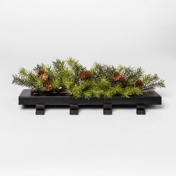 """17"""" x 5"""" Four Hook Metal Stocking Holder with Artificial Pine Greenery Black/Green - Project 62™"""