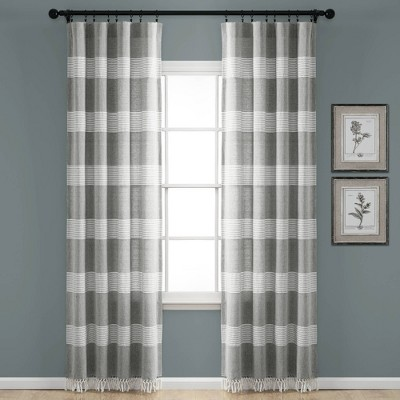 Tucker Stripe Yarn Dyed Cotton Knotted Tassel Window Curtain Panels - Lush Décor