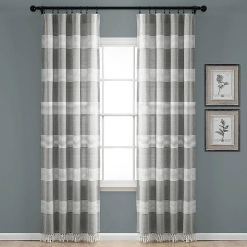 Window Curtain Panels Gray White
