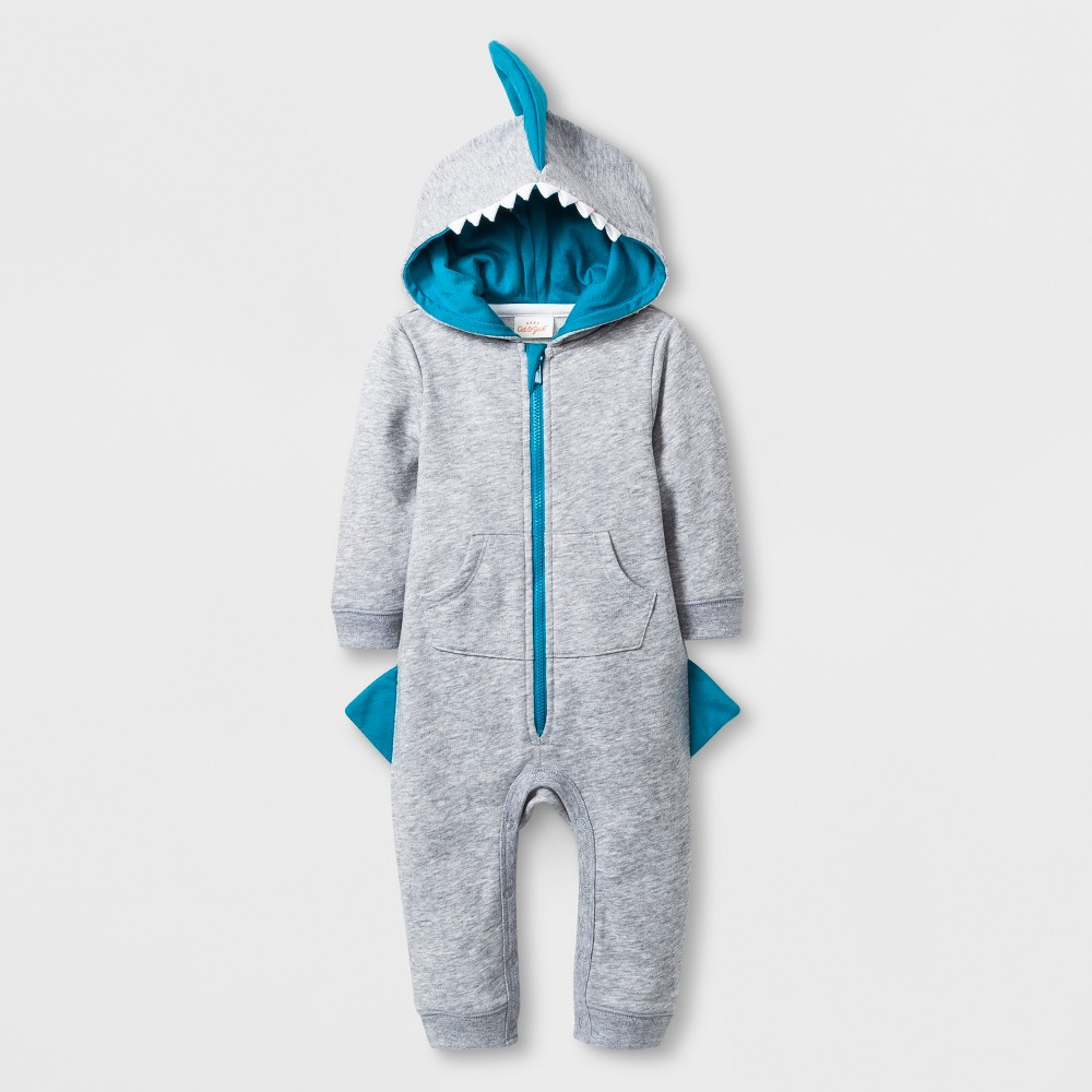 Baby Boys' Hooded Romper and Front Pocket - Cat & Jack Gray 24M