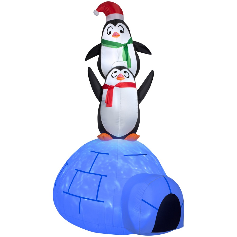 Holiday Projection Inflatable Kaleidoscope Igloo with Penguins, Multi-Colored