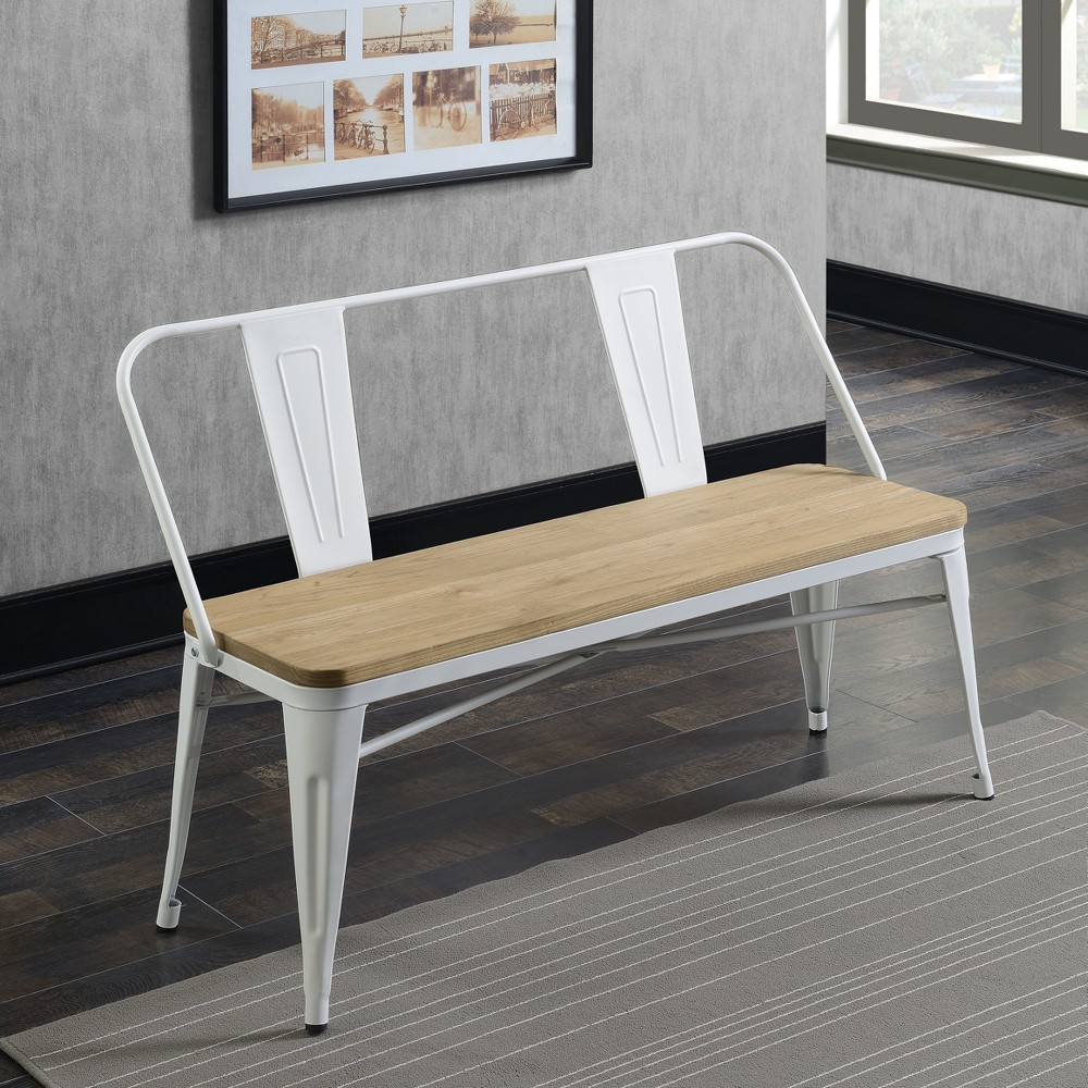 Clarkson Industrial Inspired Dining Bench White - Homes: Inside + Out