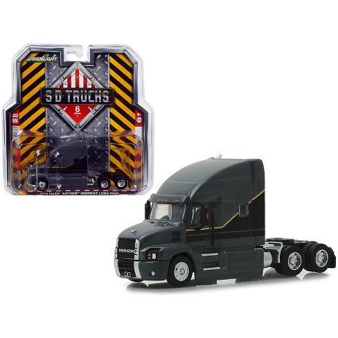 2019 Mack Anthem Highway Long Haul Truck Cab Gray with Black and Gold Stripes 1/64 Diecast Models by Greenlight - image 1 of 1