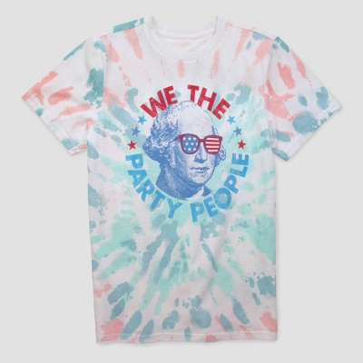 Men's 'Party People' Tie-Dye Short Sleeve Graphic T-Shirt - White