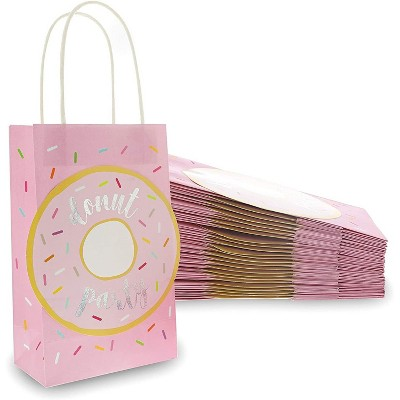 """24-Pack Donut Party Favor Bags, Pink Paper Bag with Handle for Kids Birthday Party Treats, Candy, Goodie Bag Toy Fillers and Stuffers, 9"""""""
