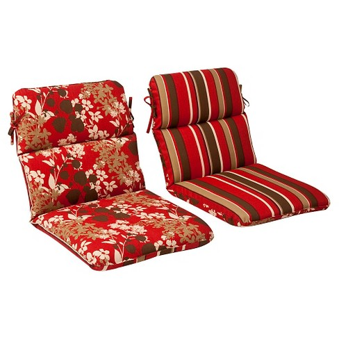 Outdoor Reversible Seat Pad/Dining/Bistro Cushion - Brown/Red Floral/Stripe - Pillow Perfect - image 1 of 2