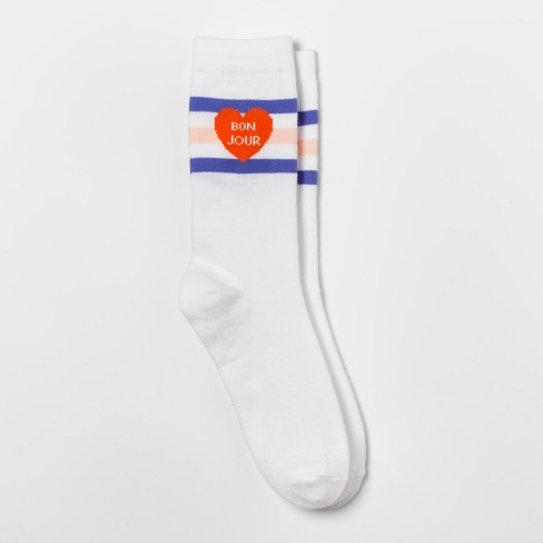 Women's Bon Jour Socks - Xhilaration™ White One Size - image 1 of 1