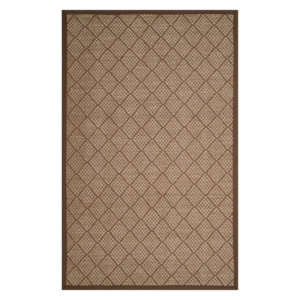 5'X8' Geometric Loomed Area Rug Natural/Brown - Safavieh, White