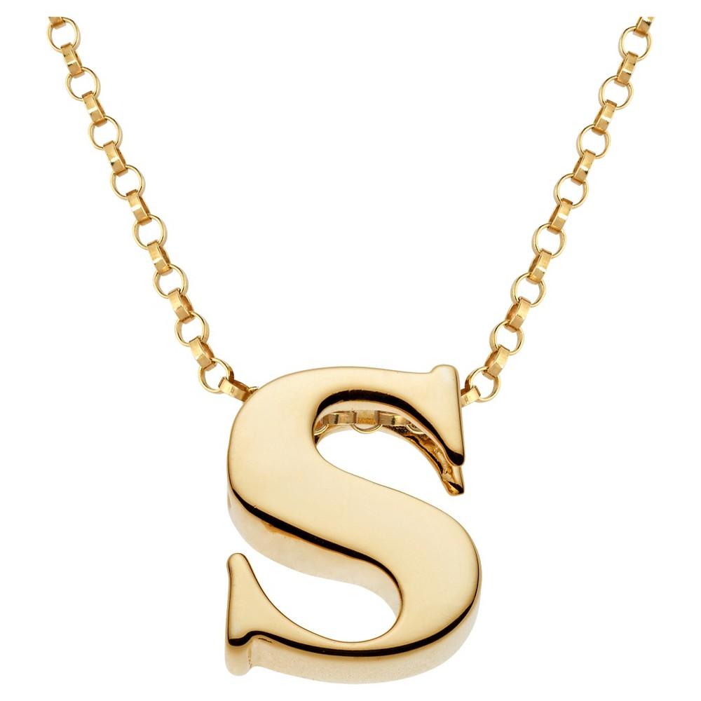 Women's Sterling Silver 's' Initial Charm Pendant - Gold, S