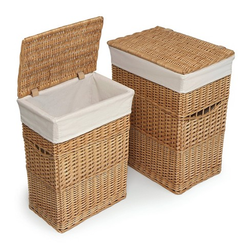 Badger Basket Set of 2 Hampers with Liners - Natural - image 1 of 4