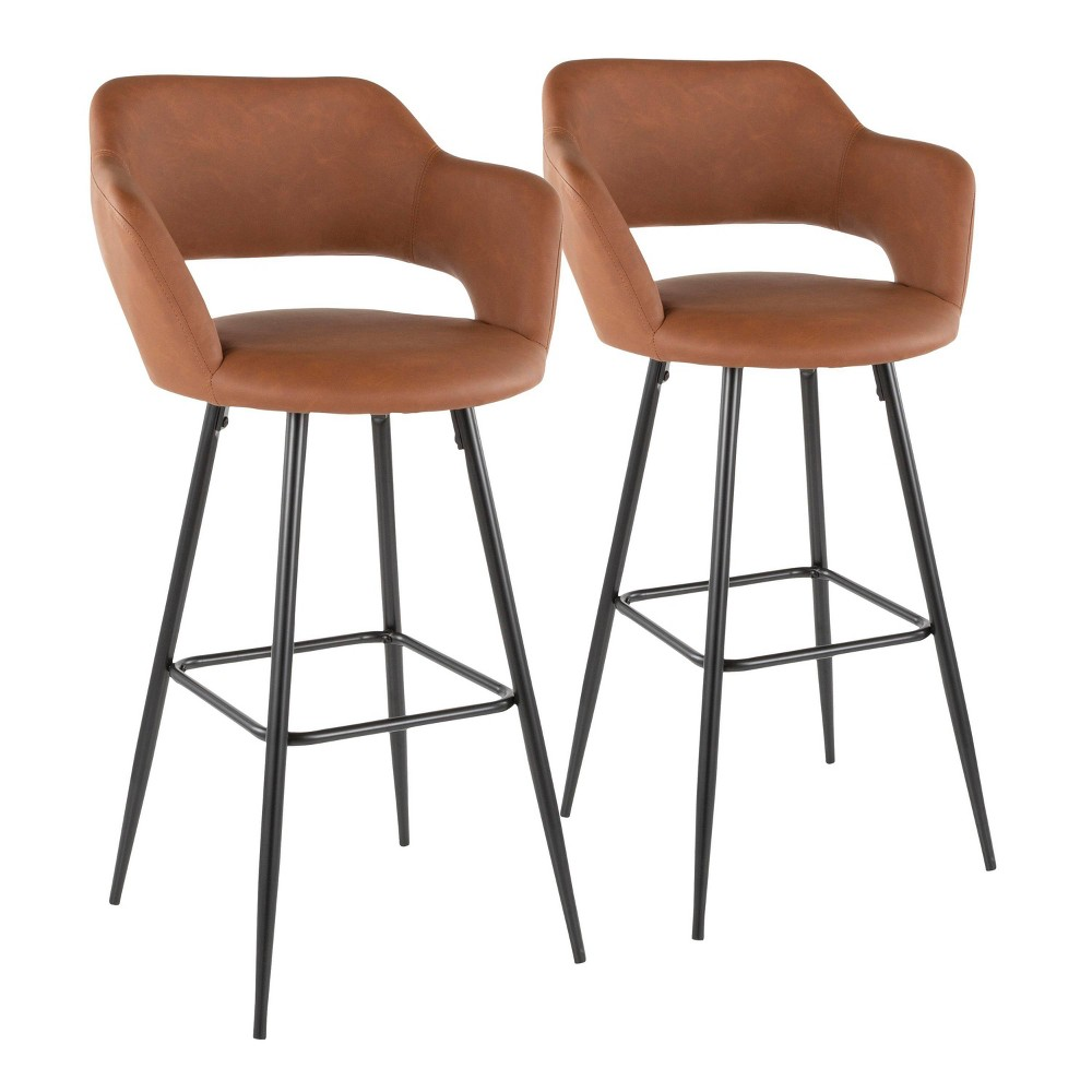 Set of 2 Margarite Contemporary Barstool Faux Leather Brown - LumiSource