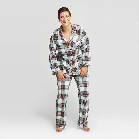 Women's Holiday Tartan Plaid Flannel Pajama Set - Wondershop™ White - image 1 of 3