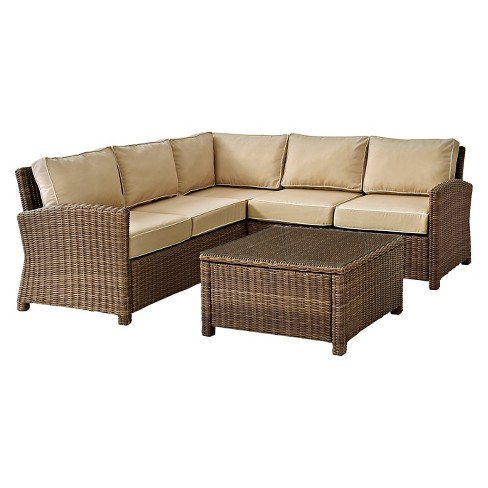 Crosley Bradenton 4-Piece Outdoor Wicker Sectional Seating Set with Sand Cushions - image 1 of 10