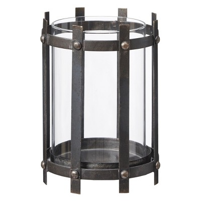 Charley Glass/Metal Medium Candle Holder - Black