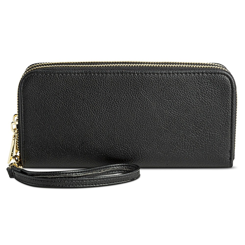 Cheap Womens Double Zip Closure Wallet - A New Day Black Silver