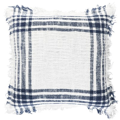 """18""""x18"""" Poly Filled Plaid Square Throw Pillow Navy - Rizzy Home"""