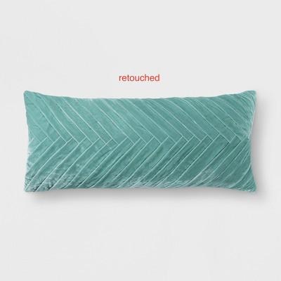 Aqua Pleated Velvet Lumbar Pillow - Opalhouse™