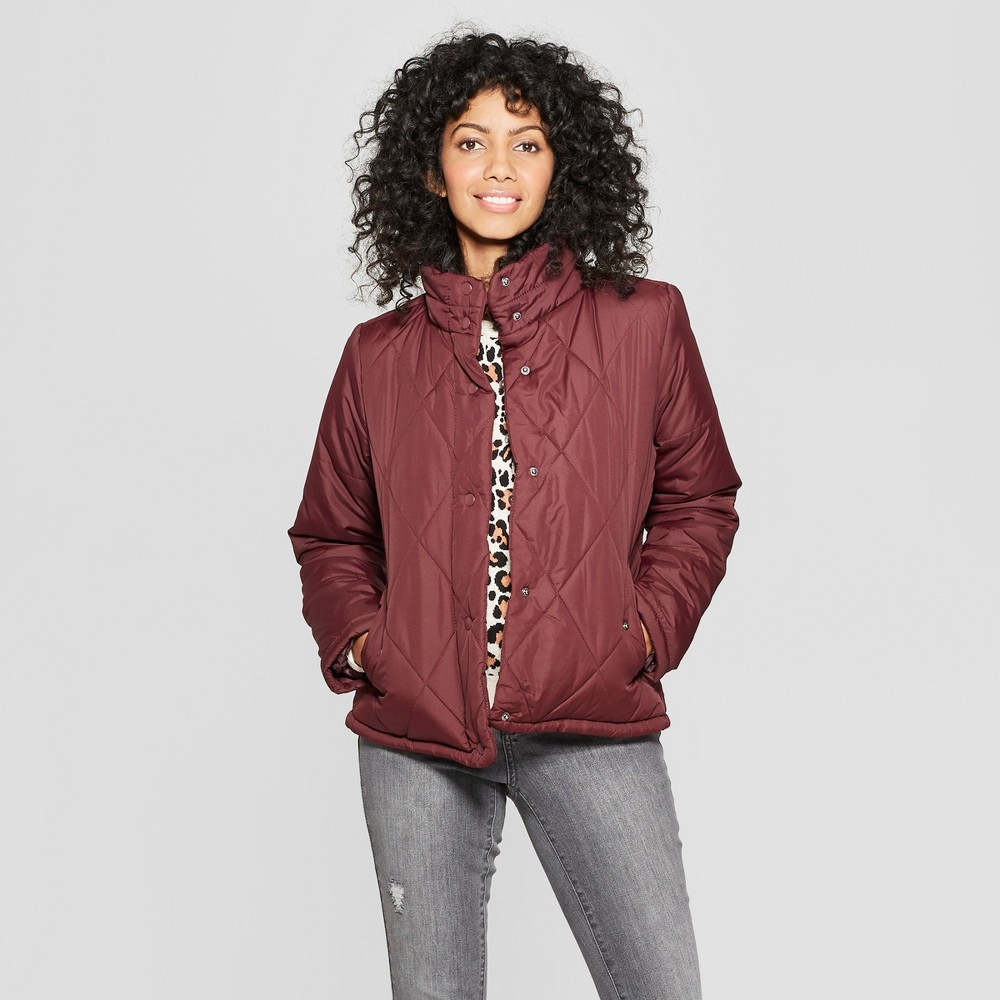 Women's Puffer Jacket - A New Day Burgundy XL, Red