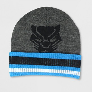 Mens Black Panther Cuff Beanie - Heather Gray One Size