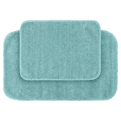 2pc Traditional Washable Nylon Bath Rug Set Sea Foam - Garland