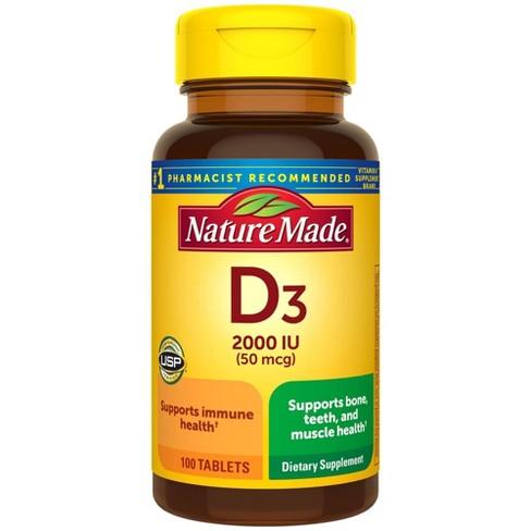 Nature Made Vitamin D3 2000 IU (50 mcg) Tablets - 100ct - image 1 of 4