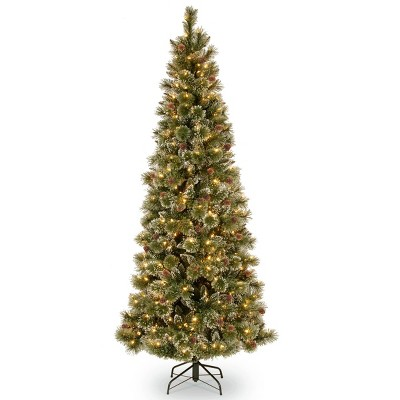 7ft National Tree Company Glittering Pine Pencil Slim Hinged Tree Clear Lights & PowerConnect