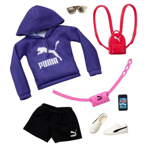Barbie Clothes Puma Fashion Pack With Purple Hoodie And 6 Accessories Target