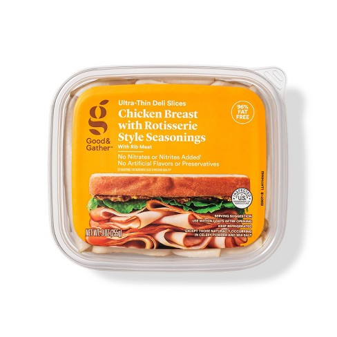 Rotisserie Seasoned Chicken Breast Ultra-Thin Deli Slices - 9oz - Good & Gather™ - image 1 of 3