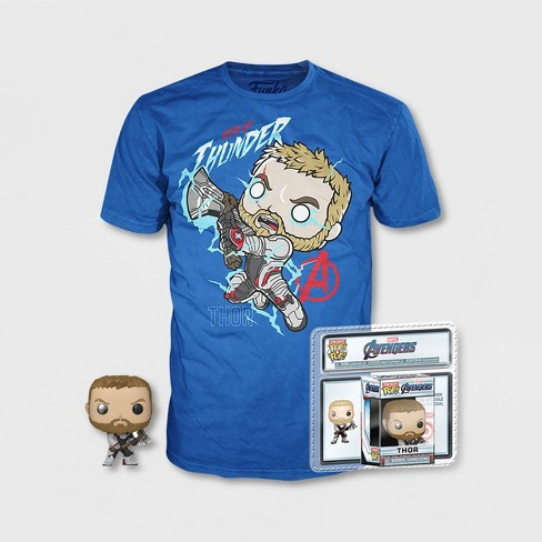 Boys' Thor Short Sleeve T-Shirt with Mini Funko POP! - Black - image 1 of 1