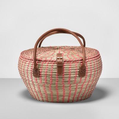 12pc Woven Picnic Basket Set Brown/Pink - Opalhouse™