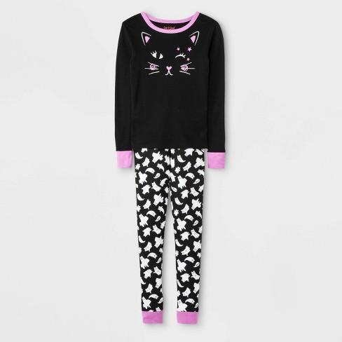 Girls' Pajama Set - Cat & Jack™ Black - image 1 of 1