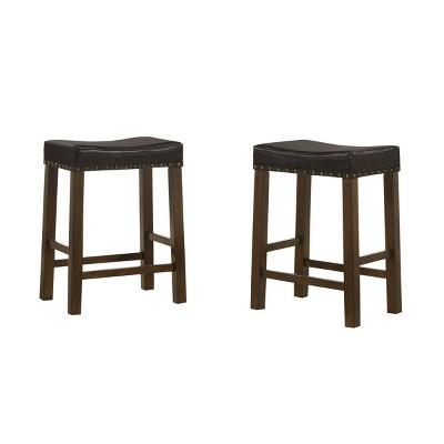 "Set of 2 24"" Soren Upholstered Saddle Seat Counter Height Barstools - Carolina Chair & Table"