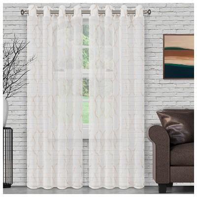 Lightweight Semi-Sheer Lattice 2-Piece Curtain Panel Set with Stainless Grommet Header - Blue Nile Mills