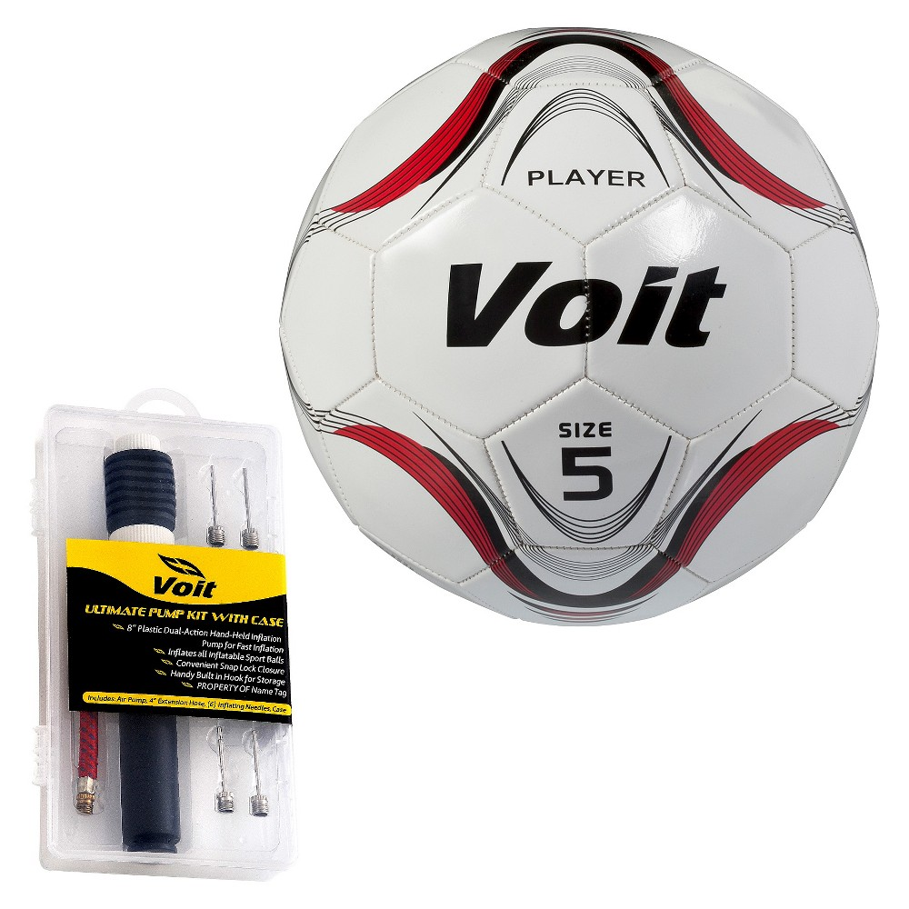 Voit 12 Pack Player Size 4 Soccer Ball with Ultimate Inflating Kit - White/Red