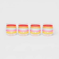 14oz 4pk Plastic Multi-Striped Stemless Wine Glasses - Sun Squad™