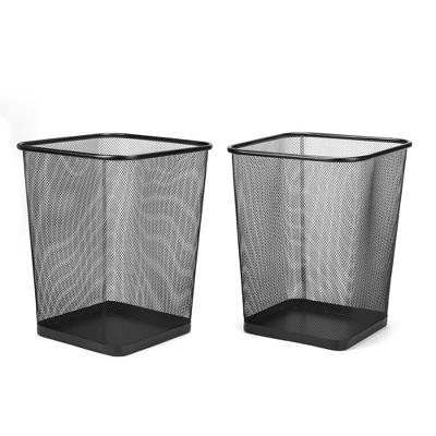 Mind Reader 2-Piece Mesh Garbage Waste Basket Recycling Bin Set, Square, Black