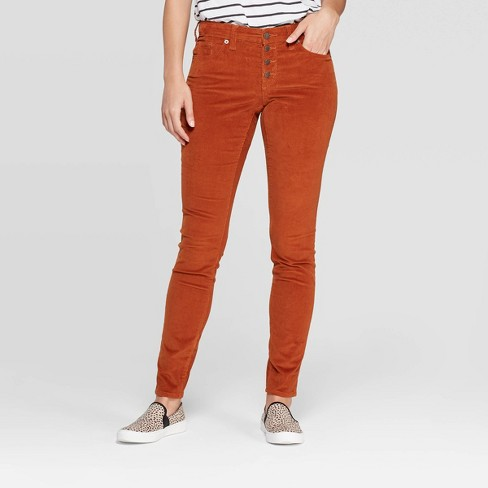 Women's Corduroy Mid-Rise Skinny Jeans - Universal Thread™ Rust - image 1 of 4