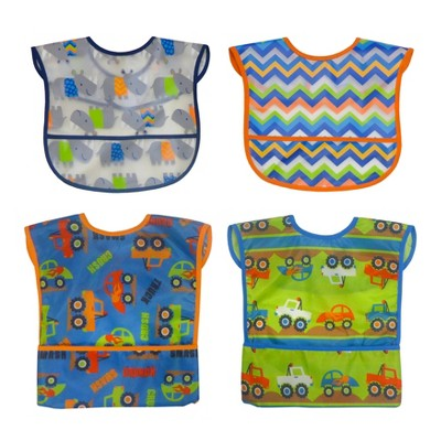 Neat Solutions Boy Water-Resistant Full-Coverage Toddler Bib Set - 4pk