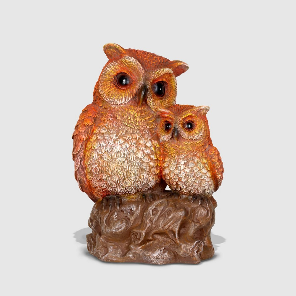 "Image of ""10"""" Resin Solar Owl With Owlets Statue Brown - Exhart"""