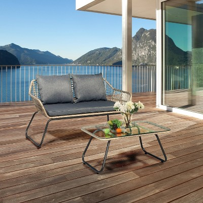 Lugano 2pc Rattan Wicker Outdoor Patio Loveseat & Coffee Table Set with Cushions - Natural/Gray - DUKAP