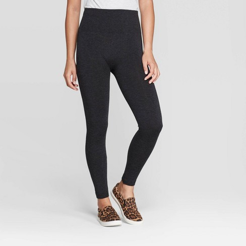 Women's Seamless High Waist Fleece Lined Leggings - A New Day™ Charcoal Gray - image 1 of 2