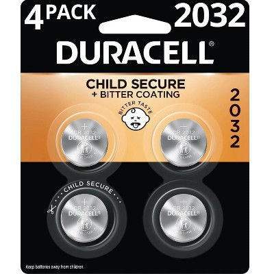 Duracell 2032 Batteries Lithium Coin Button - 4 Pack - Specialty Battery w/ Bitterant Technology