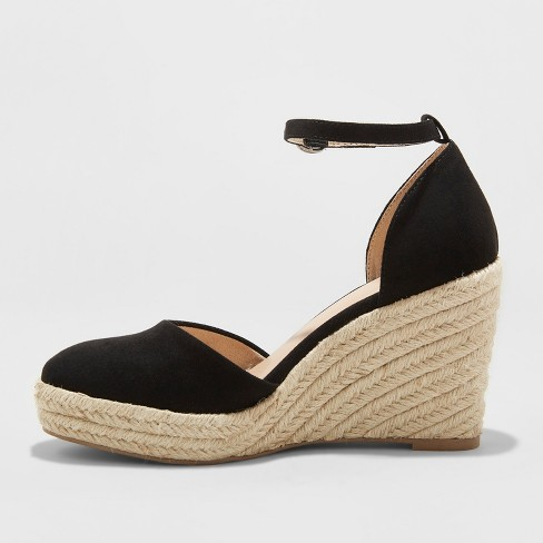 4ddee3d4804 Women's Olivia D'Orsay Closed Toe Espadrille Wedge - A New Day™ Black 8.5